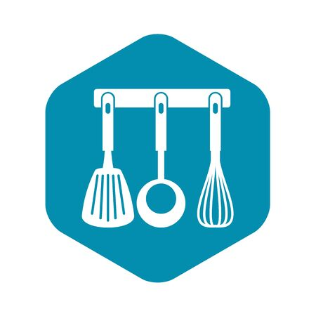 Spatula, ladle and whisk, kitchen tools icon