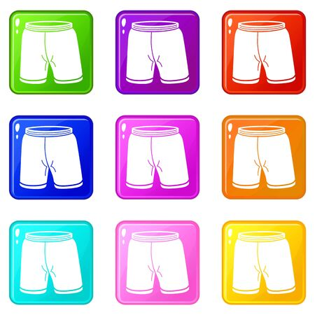 Shorts icons set 9 color collection