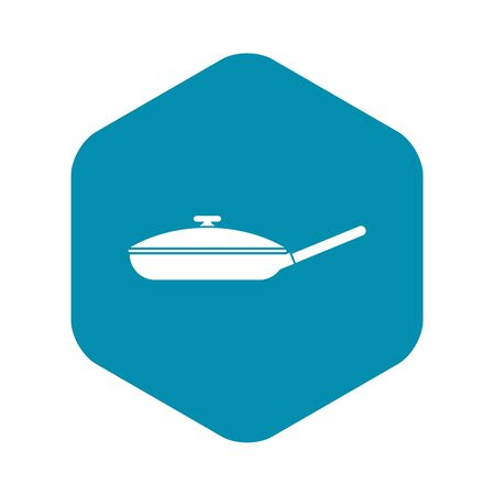 Black frying pan icon, simple style