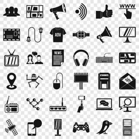 Communication icons set, simple style