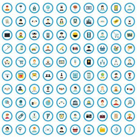 100 handphone section icons set, flat style Stock Photo