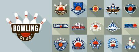 Bowling logo set, flat style Standard-Bild