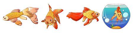 Goldfish icons set, cartoon style Zdjęcie Seryjne