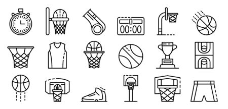 Basketball equipment icons set, outline style