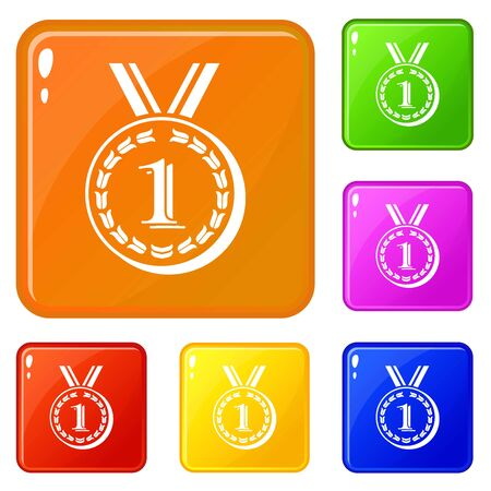 Medal icons set color Stock Photo