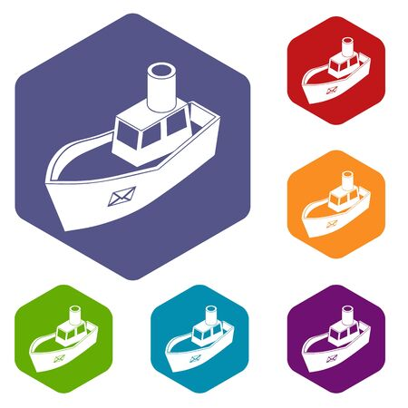 Sea ship delivery icons hexahedron Stock Photo