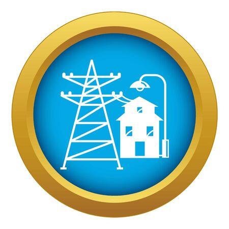 Farm house icon blue isolated