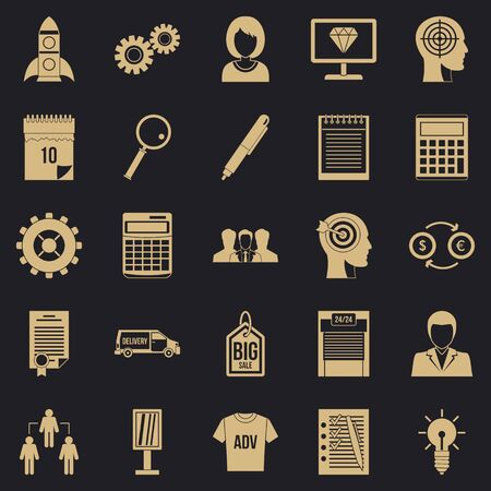 SEO business icons set, simple style Stock Photo