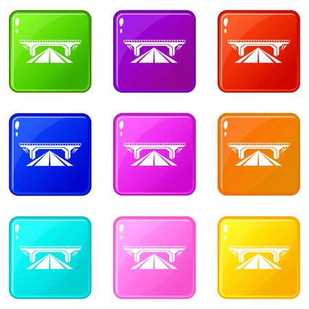 Concrete bridge icons set 9 color collection