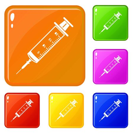 Syringe icons set color Banque d'images