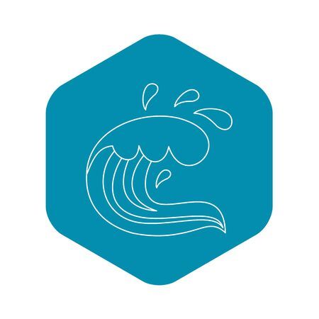 Curling and cracking wave icon, outline style