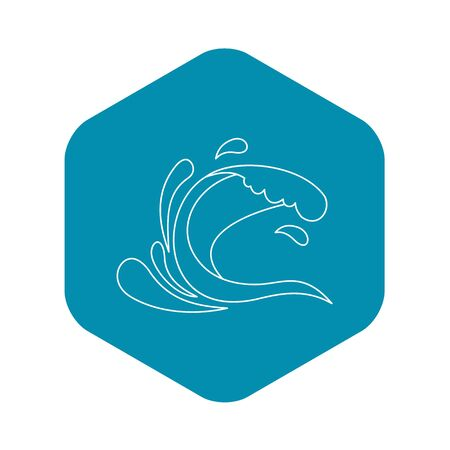Water wave splash icon, outline style