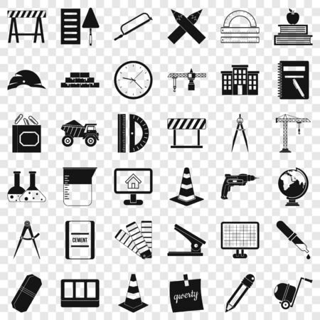 Compass instrument icons set, simple style Stockfoto