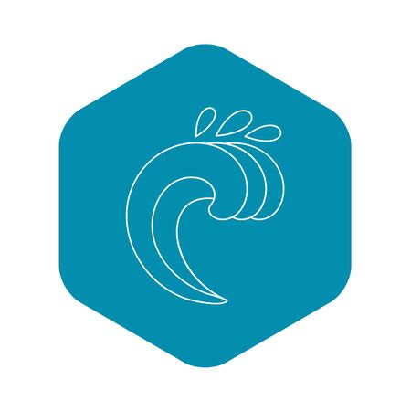 Surf wave icon, outline style