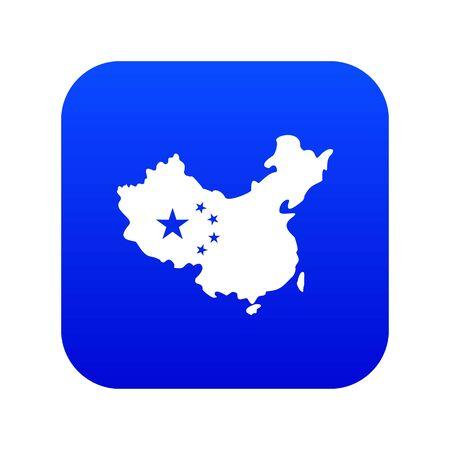 Map of China icon digital blue Stock Photo