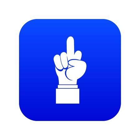 Middle finger hand sign icon digital blue