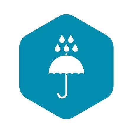 Umbrella and rain drops icon, simple style Stockfoto