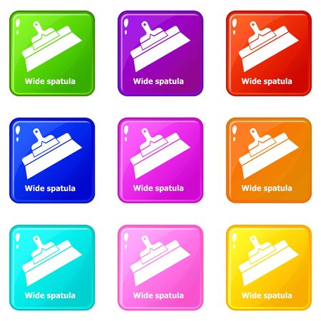 Wide spatula icons set 9 color collection