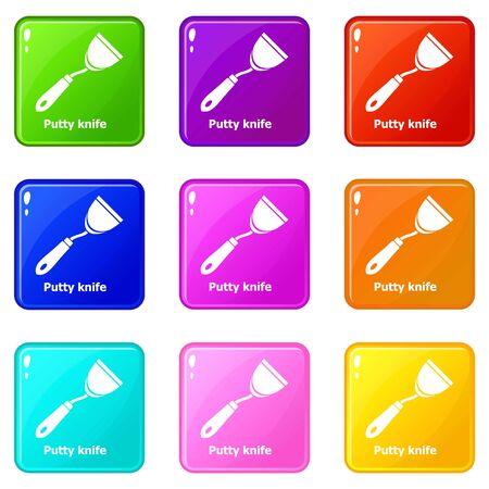 Putty knife icons set 9 color collection Фото со стока