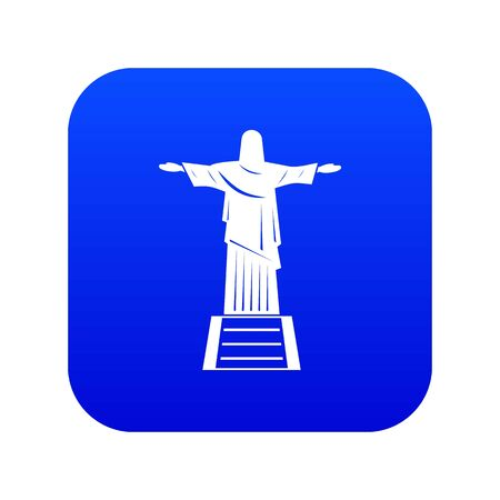 The Christ the Redeemer statue icon digital blue