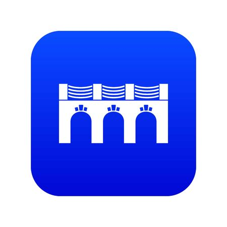 Old arch bridge icon blue