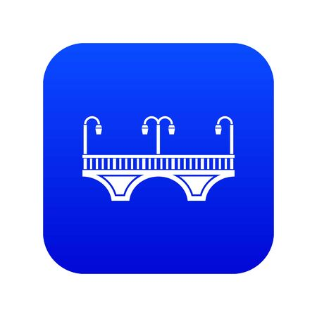 Retro arch bridge icon blue Stockfoto