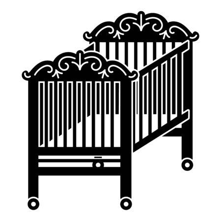 Wood crib icon, simple style