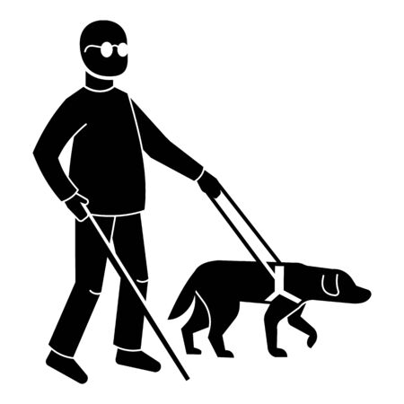 Blind man with dog icon, simple style