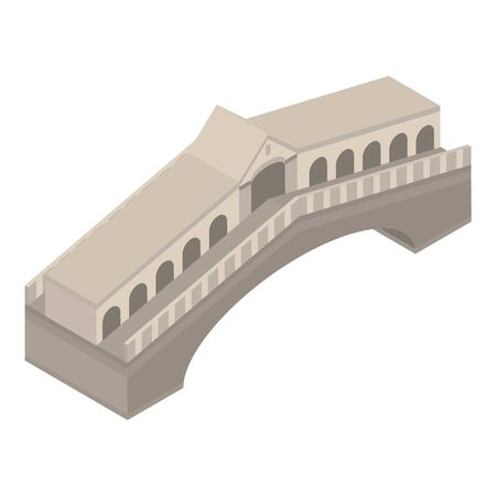 Ancient bridge icon, isometric style