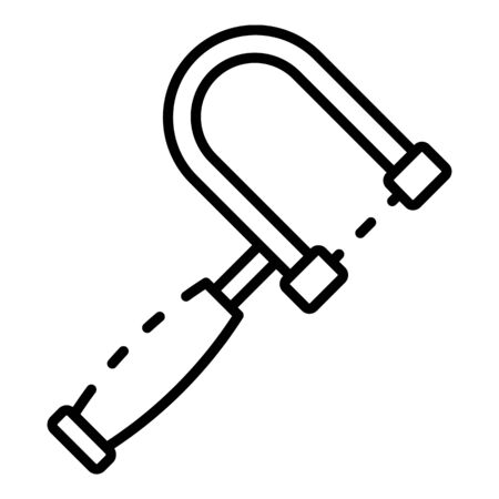 Metal hand saw icon, outline style
