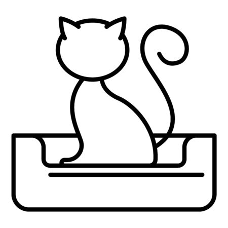 Cat on bed icon, outline style