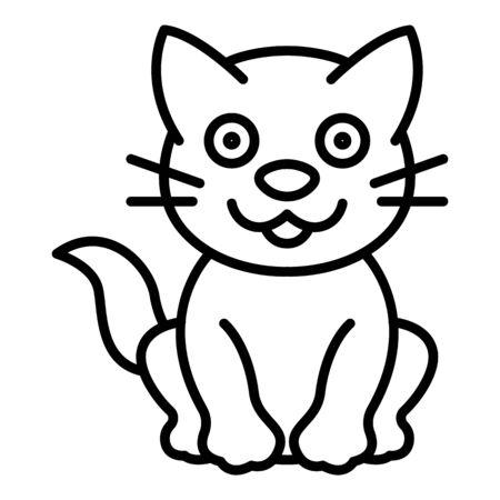 Happy cat icon, outline style