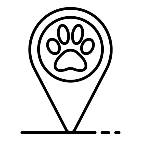 Pet hotel map pin icon, outline style