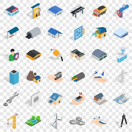 Construction industry icons set. Isometric style of 36 construction industry icons for web for any design