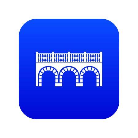 Arch bridge icon blue isolated on white background