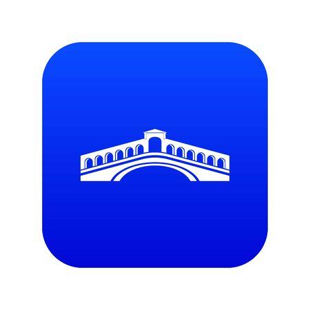 Rialto bridge icon blue isolated on white background