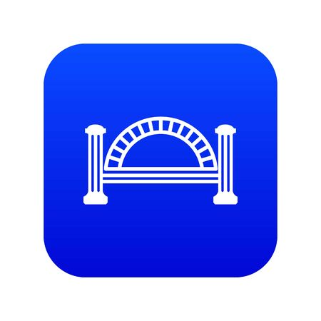 Metallic bridge icon blue isolated on white background