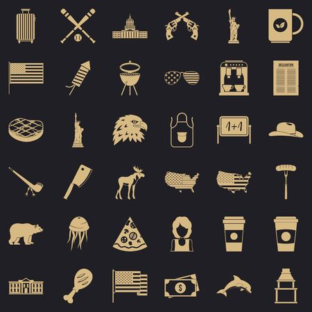 Usa icons set. Simple style of 36 usa icons for web for any design 스톡 콘텐츠