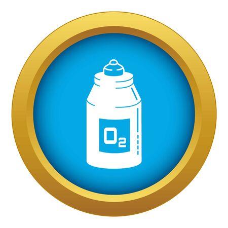 Icône de bouteille d'oxygène bleu isolé sur fond blanc pour toute conception