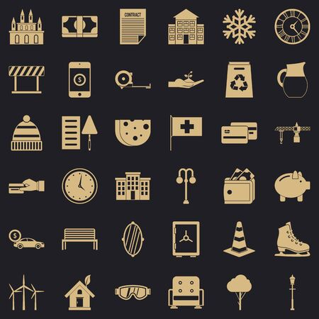 Rich villa icons set. Simple style of 36 rich villa icons for web for any design Zdjęcie Seryjne - 126829641