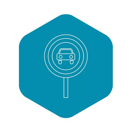 Movement of motor vehicles is forbidden icon. Outline illustration of movement of motor vehicles is forbidden icon for web 免版税图像