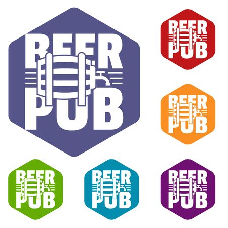 Beer pub icons colorful hexahedron set collection isolated on white Stock Photo