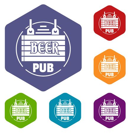 Wood board beer pub icons colorful hexahedron set collection isolated on white