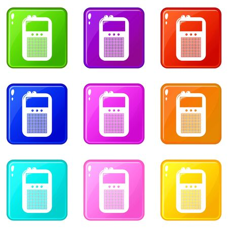 Portable radio icons set 9 color collection isolated on white for any design