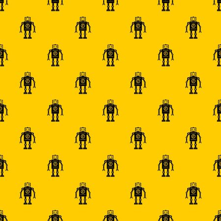 Retro robot pattern seamless repeat geometric yellow for any design