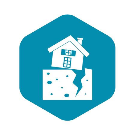 House after an earthquake icon in simple style isolated illustration Stock Photo