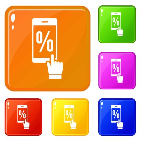 Percent on screen icons set collection 6 color isolated on white background 스톡 콘텐츠