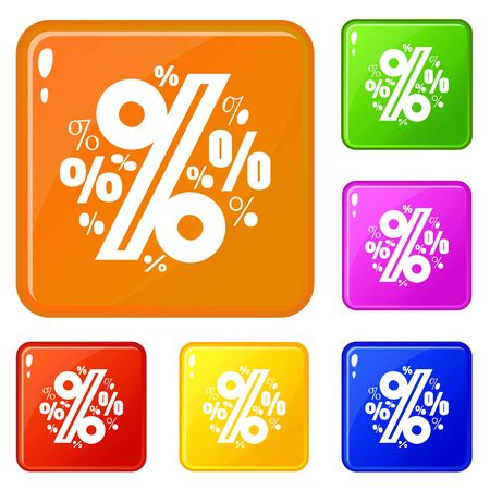 Percentage icons set collection 6 color isolated on white background
