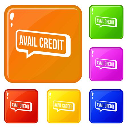 Avail credit icons set collection 6 color isolated on white background