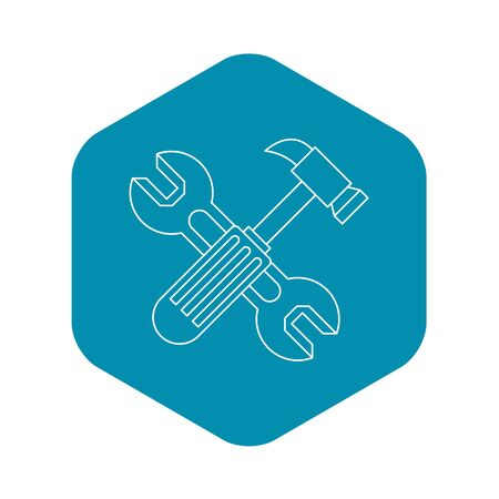 Hammer and wrench icon. Outline illustration of hammer and wrench icon for web